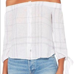 Rails | Lauren Off Shoulder Plaid Tie Top Small